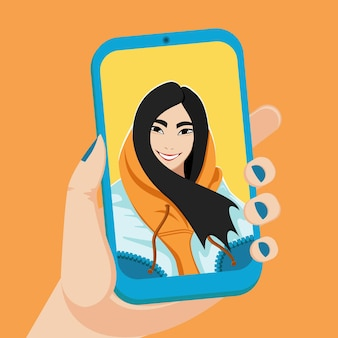 Aziatisch meisje neemt een selfie.