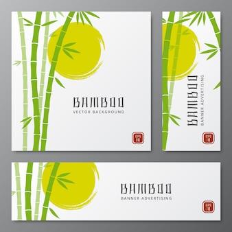 Aziatische bambu drie kaarten of de japanse vectorillustratie van bamboebanners