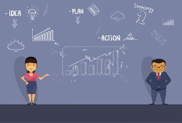 Aziatische bedrijfsman en vrouw presentatie