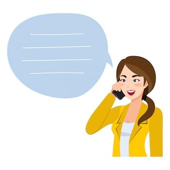 Aziatische bedrijfsvrouw die op mobiele telefoon spreekt. illustratie in een stijl