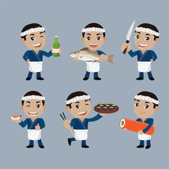 Aziatische chef-kok die japanse kok houdt