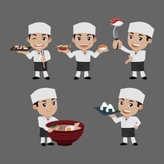 Aziatische chef-kok met japanse kok