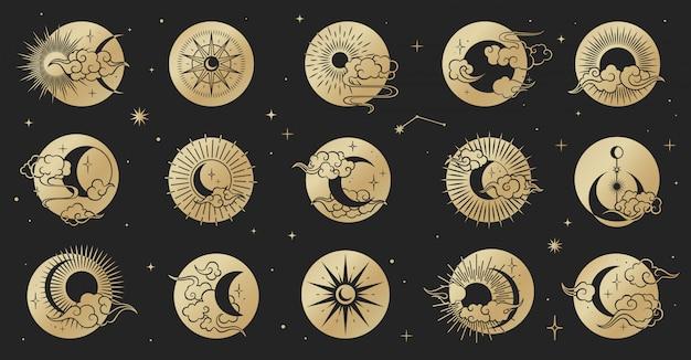 Aziatische cirkel ingesteld met wolken, maan, zon, sterren. vector collectie in oosterse chinese, japanse, koreaanse stijl