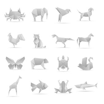 Aziatische creatieve verzameling origami dieren
