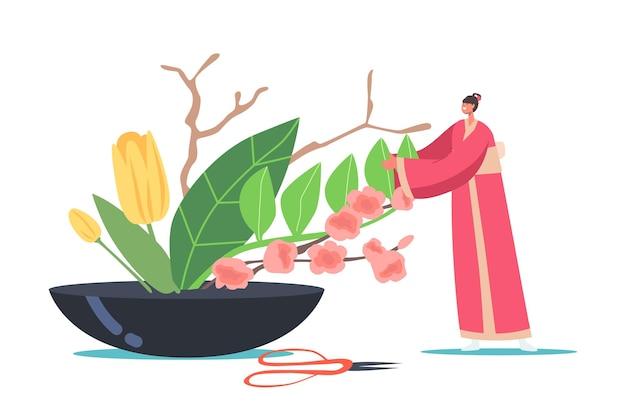 Aziatische cultuur en kunst. japans ikebana-concept. klein vrouwelijk personage in traditionele japanse kimono creëert een prachtige floristische compositie van bloemen en planten in een vaas. cartoon vectorillustratie