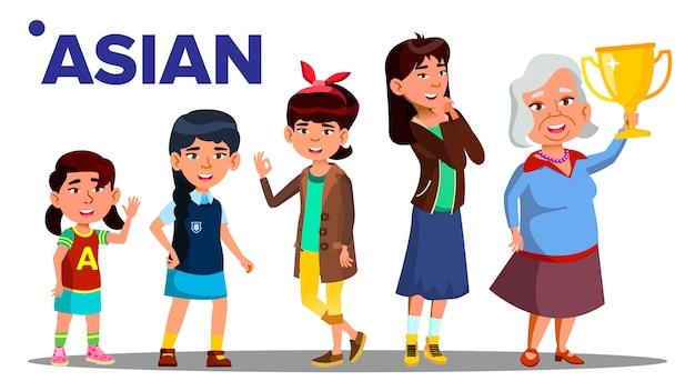 Aziatische generatie vrouwelijke mensen