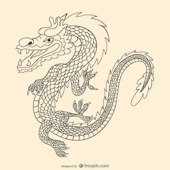 Aziatische hand getrokken draak