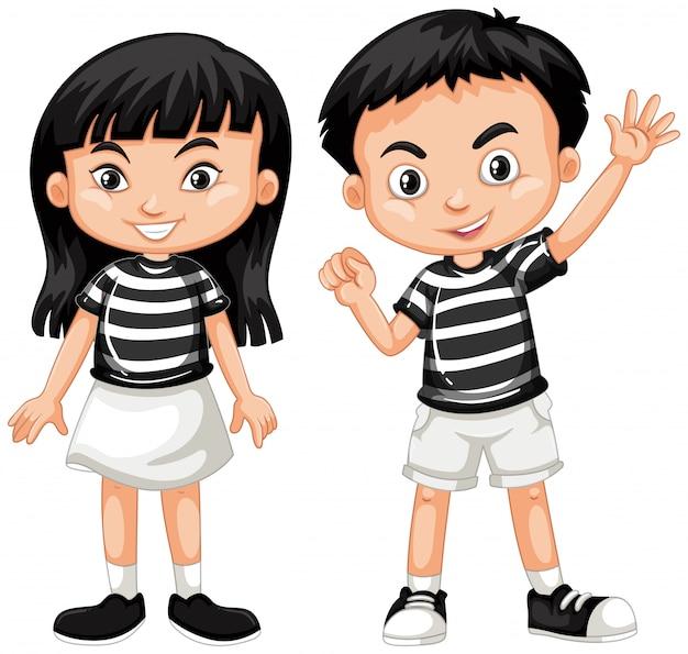 Aziatische jongen en meisje zwaaiende hand