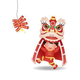 Aziatische jongen viert het nieuwe maanjaar met leeuwendansvoorstelling en chinees vuurwerk. leuke illustraties geïsoleerd op wit.
