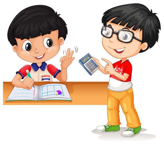 Aziatische jongens die met calculator berekenen
