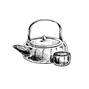 Aziatische keramische theepot en kopje. vintage vector broedeieren illustratie