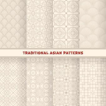 Aziatische koreaanse, chinese en japanse naadloze patronen, ornamenten vector achtergrond. oosterse achtergronden of patroonachtergronden met versiering en chinees knoopmaaswerk, geometrische kunst