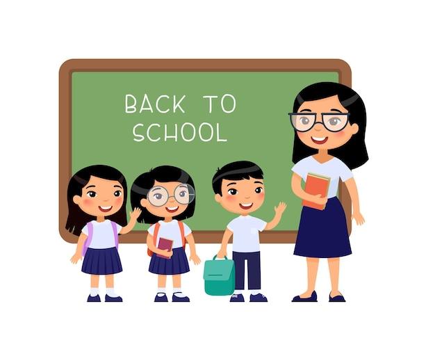 Aziatische leraar en kinderen leerlingen terug naar school groet Premium Vector
