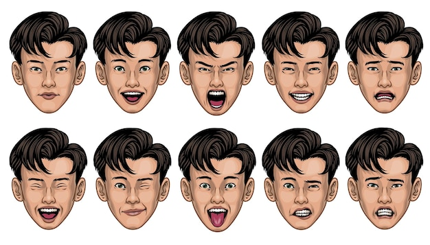 Aziatische man in verschillende gezichtsuitdrukkingen