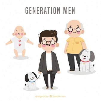 Aziatische mannencollectie in verschillende leeftijden