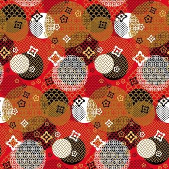 Aziatische nieuwjaar vakantie naadloze patroon vector. presenteer geschenkdoos en heliumballon, vuurwerk en ster voor het vieren van chinese seizoensgebonden gelukkige viering. illustratie van decoratieve accessoires
