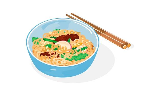 Aziatische noedelschotel illustratie