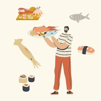 Aziatische of mediterrane keuken, character carry tray met zeevruchten in handen die krab presenteren