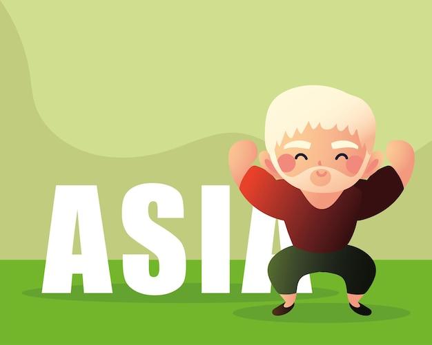 Aziatische oude man sterk