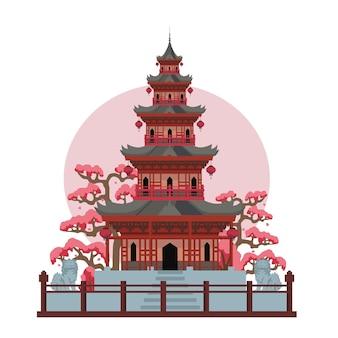 Aziatische pagodetempel in japan. kleur vector platte cartoon illustratie geïsoleerd op zon en wit