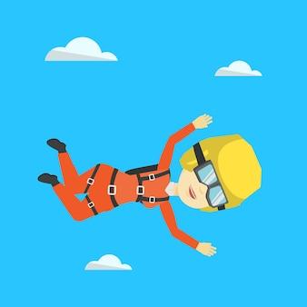 Aziatische parachutist die met valscherm springt.