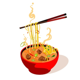 Aziatische soep in een bord met stokjes. vectorillustratie kleur platte cartoon geïsoleerd op een witte achtergrond.
