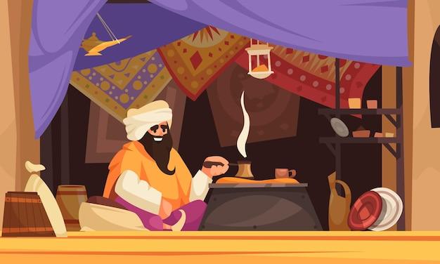 Aziatische souk-cartoon met arabische man die traditionele oosterse koffie maakt onder handelstent met tapijten