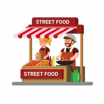 Aziatische straatvoedselverkoper. man en vrouw die gebakken voedsel koken en verkopen