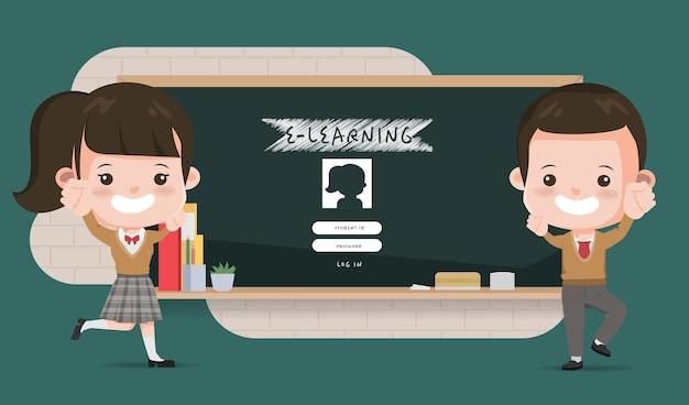 Aziatische student die e-learning online onderwijsschool voorstelt. animatieontwerp voor middelbare scholen.