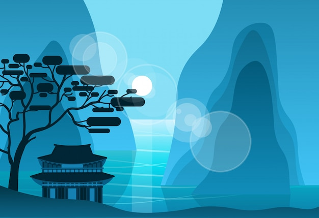 Aziatische tempel in bergen in de nacht op achtergrond silhouet pagode landschap