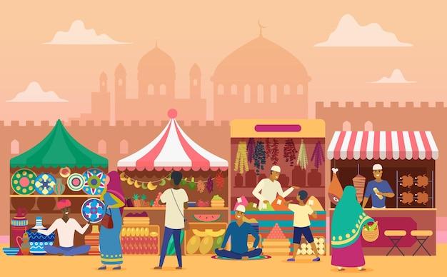 Aziatische traditionele straatmarkt met mensenlandschap