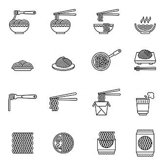 Aziatische voedsel pictogrammen instellen
