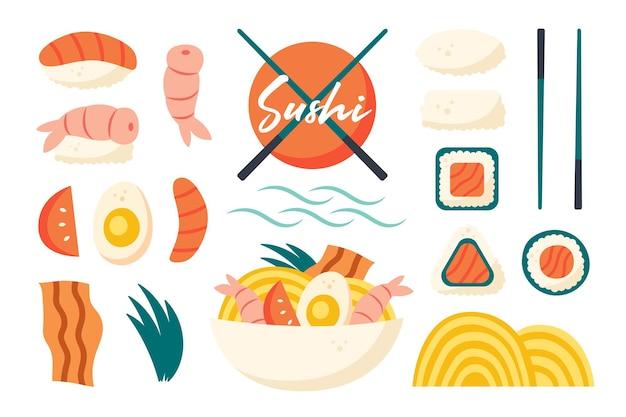 Aziatische voedselingrediënten set japanse china keuken sushi verse vis garnalen rijstbroodjes ramen