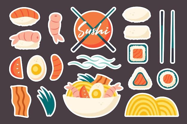 Aziatische voedselingrediënten set japanse chinese keuken levering sushi ramen rolls