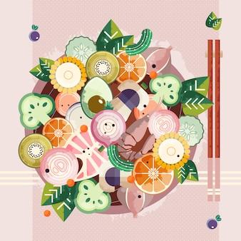 Aziatische voedselkom met eetstokjes