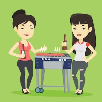 Aziatische vrienden plezier op barbecue feest.