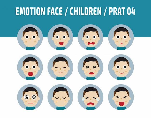 Azië kinderen emoties avatar gezicht gevoelens.
