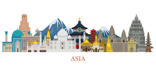 Azië skyline oriëntatiepunten