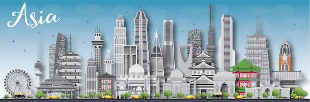 Azië skyline silhouet met verschillende bezienswaardigheden.