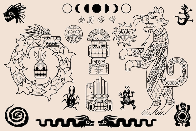 Azteekse en maya ornamenten