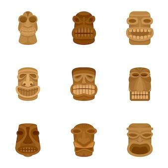 Azteekse idool icon set, vlakke stijl