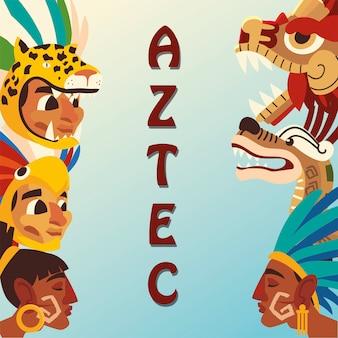 Azteekse karakter mensen slang piramide wapen inheemse cultuur pictogrammen illustratie