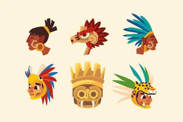 Azteekse krijgers in veer hoofddeksels slang set pictogrammen illustratie
