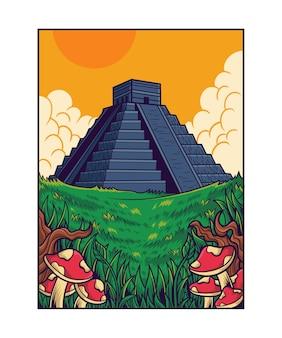 Azteekse piramides lanscape-illustratie
