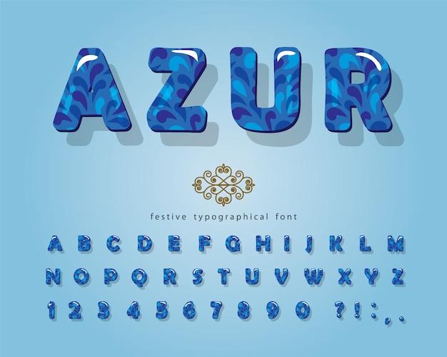 Azure 3d glanzend lettertype.