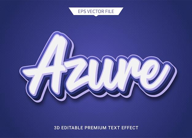 Azuurblauwe 3d bewerkbare tekststijl effect premium vector