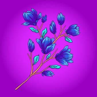 Azuurblauwe bloemvector