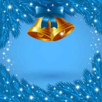 Azuurblauwe kerstkaart met kerstklokken