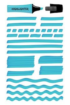 Azuurblauwe, solide en golvende realistische markeerlijnen.
