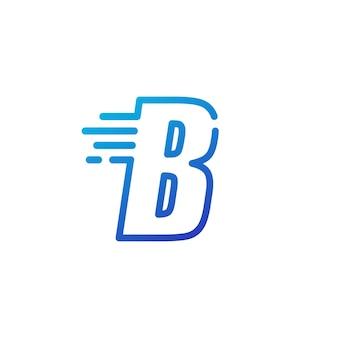 B brief dash snel snel digitaal teken lijn overzicht logo vector pictogram illustratie